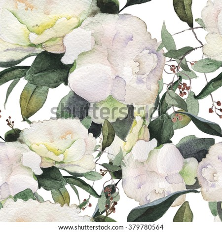 flowers watercolor of floral rose seamless pattern  peony - stock photo