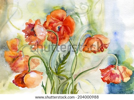 flowers , watercolor , spring - stock photo