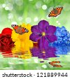 flowers with butterflies - stock photo