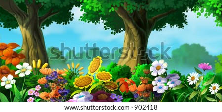 Flowers with Trees - stock photo