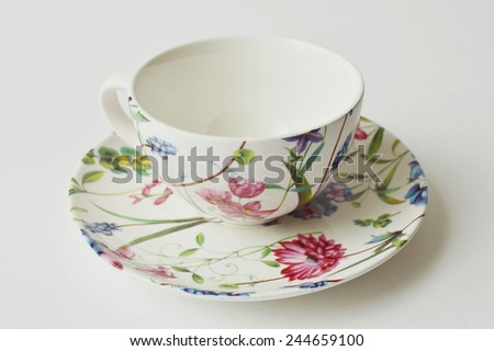 Flowery teacup and saucer of porcelain. - stock photo