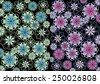 Flowery  unique  modern vibrant abstract design in two part format  format with floral and geometric textured  motifs  superimposed  on a  plain black  background ideal for classic wallpapers - stock photo