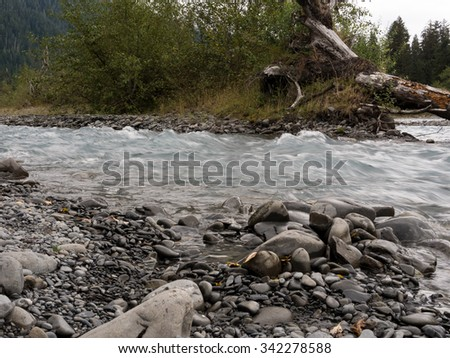 Flowing clear blue water runs next to rocky shore at Hoh Rainforest in the Olympic National Park, Washington - stock photo