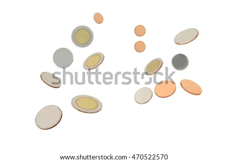 flowing coins ,isolated white background with clipping path