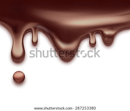 flowing liquid chocolate on white background - stock photo