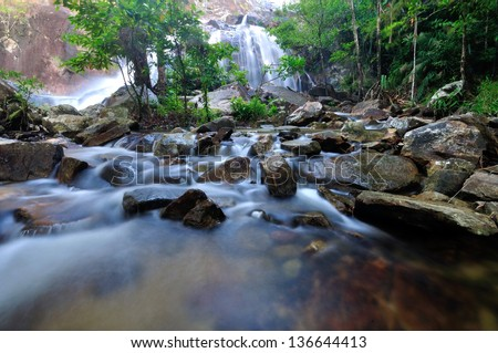 Flowing mountain stream with stones
