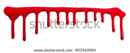 flowing Red nail polish isolated on white background