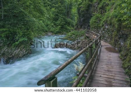 Flowing river. Vintgar Gorge, Slovenia - stock photo