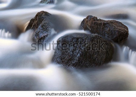 Flowing stream with rocks, long exposure