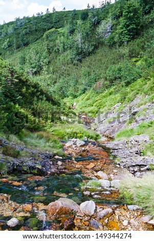 Flowing water in High Tatras, Poland - stock photo