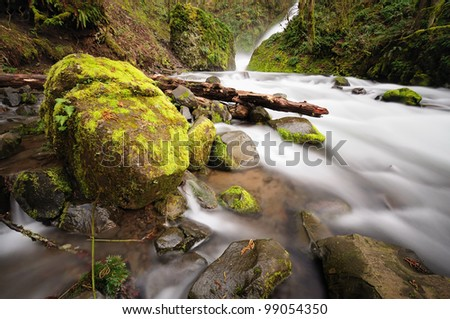 Flowing water of the Bridal veil falls - stock photo