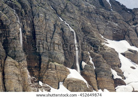 Flowing Waterfall Cascading Down the Snowy Mountains in Glacier National Park, Montana State - stock photo