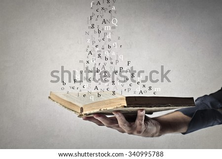 Flowing words - stock photo