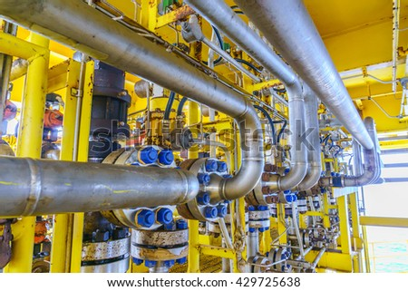 Flowline production and control valve for oil and gas process, Petroleum construction on offshore wellhead remote platform, Energy and petroleum industry, Oil and gas or Petroleum is major of world. - stock photo