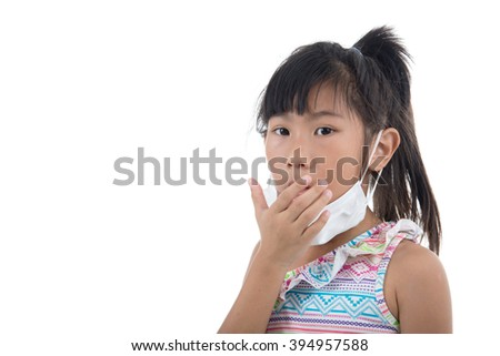 Flu cold or allergy symptom.Sick young asian girl with fever sneezing in tissue,allergies,the common cold,with blank copy space on white