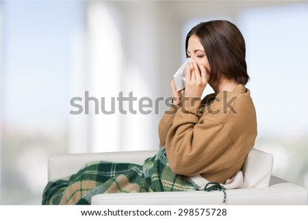 Flu, cold, woman. - stock photo