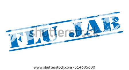 flu jab blue stamp on white background