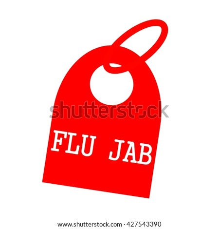 FLU JAB white wording on background red key chain