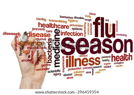 Flu season word cloud concept - stock photo