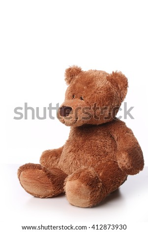 Fluffy brown teddy bear isolated on white background
