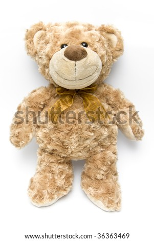 Fluffy brown teddy bear standing up - portrait interior - stock photo