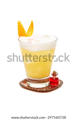 fluffy cocktail with orange at glass on white background - stock photo