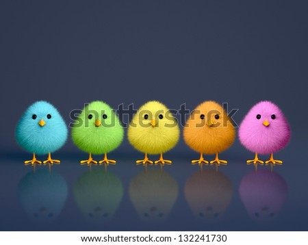 Fluffy colorful chicks on a dark reflective background with copy space (3D render) - stock photo