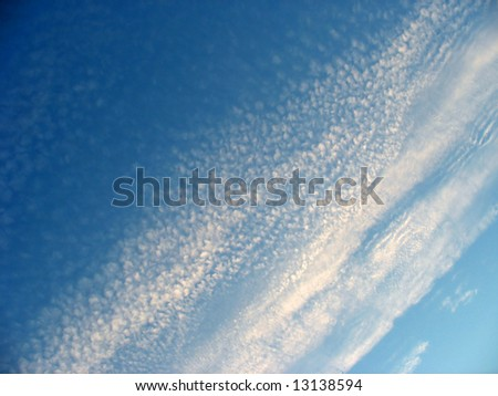 Fluffy cotton like clouds spread across a bright blue sky. - stock photo