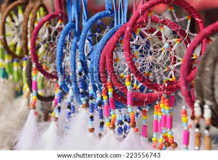 Fluffy dream catchers under sun