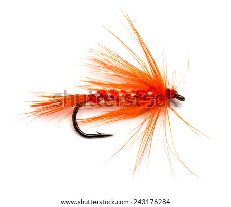 Fluffy fly fishing hook isolated on white - stock photo