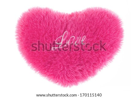 Fluffy heart-shaped pillow isolated. Valentines day. - stock photo