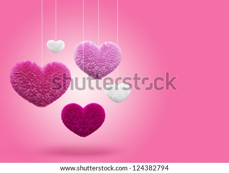 Fluffy hearts. Valentine's day - stock photo