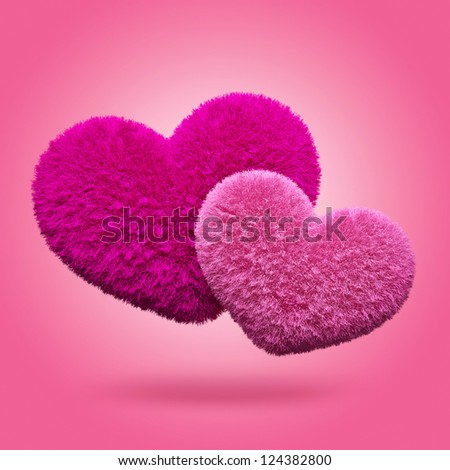 Fluffy hearts. Valentine's day - stock photo