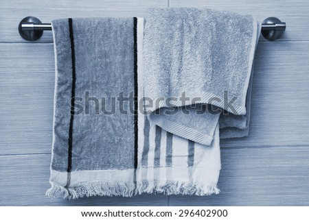 fluffy new towels in the bathroom - stock photo