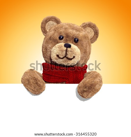fluffy plush teddy bear toy holding blank holiday banner, 3d illustration - stock photo