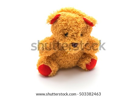 Fluffy teddy bear isolated on white background.