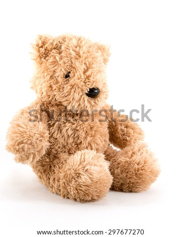 Fluffy teddy bear on white background. - stock photo