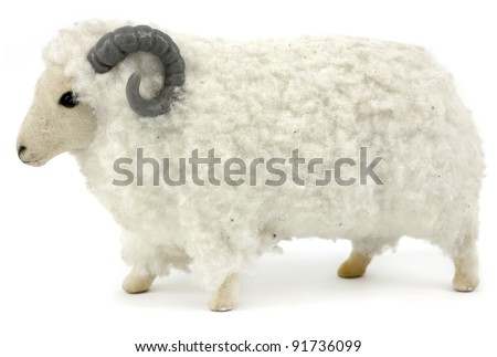 Fluffy toy ram isolated on white background - stock photo