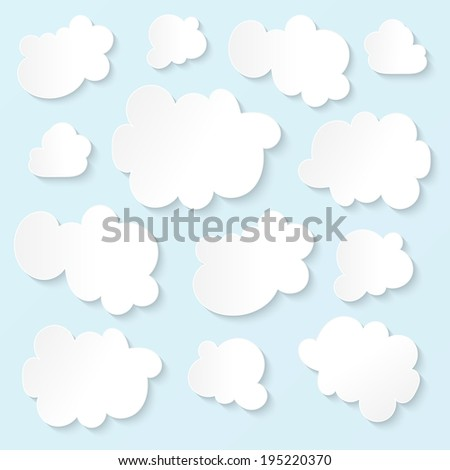 Fluffy white clouds blue sky - stock photo