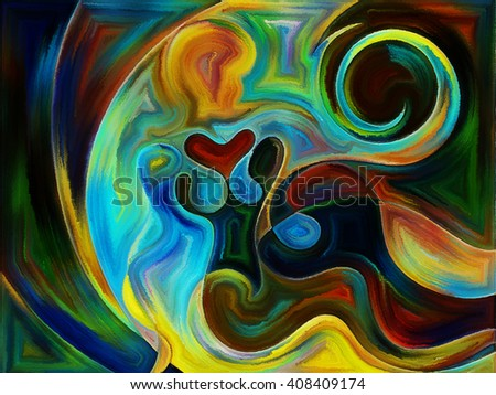 Fluid abstract forms executed in vivid paint art style reminiscent of watercolor and stained glass - stock photo