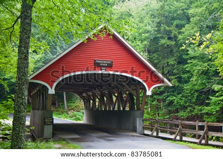 Flume gorge state park covered bridge in Franconia, New Hampshire