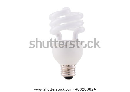 Fluocompact mini lightbulb isolated on white background - stock photo