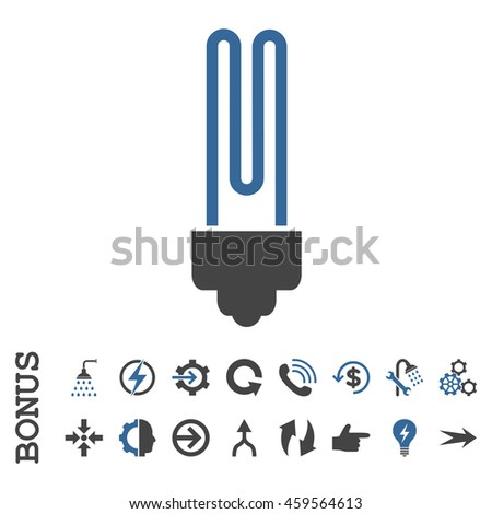 Fluorescent Bulb glyph bicolor icon. Image style is a flat iconic symbol, cobalt and gray colors, white background.