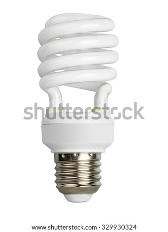 Fluorescent bulb isolated on white background - stock photo