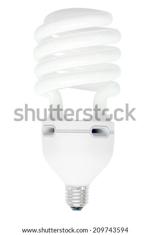 fluorescent energy saving light bulb isolated on white background with clipping path - stock photo