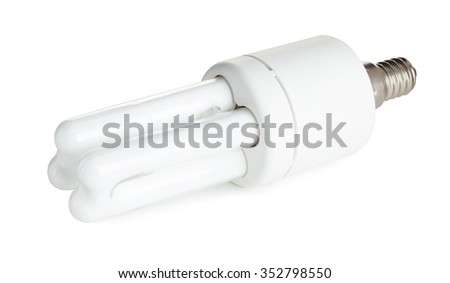 Fluorescent energy saving light bulb on a white background with clipping path - stock photo