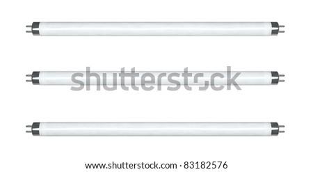 Fluorescent lamp 3d model on white background - stock photo