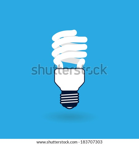Fluorescent Light Bulb Icon Isolated on Blue Background Raster