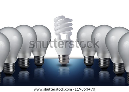 Fluorescent Light bulb in middle of the other light bulbs. Concept for energy conservation - stock photo
