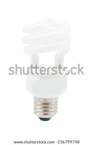 Fluorescent light bulb, isolated on white background,  file includes a excellent clipping path - stock photo